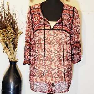 Dress Barn gold red and black flowy top XL